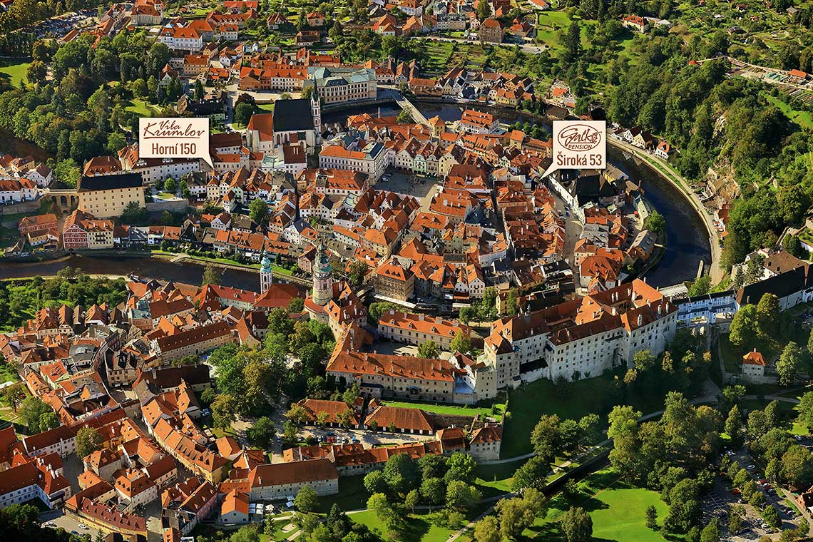 Krumlov Service - How to Find Us, aereal view